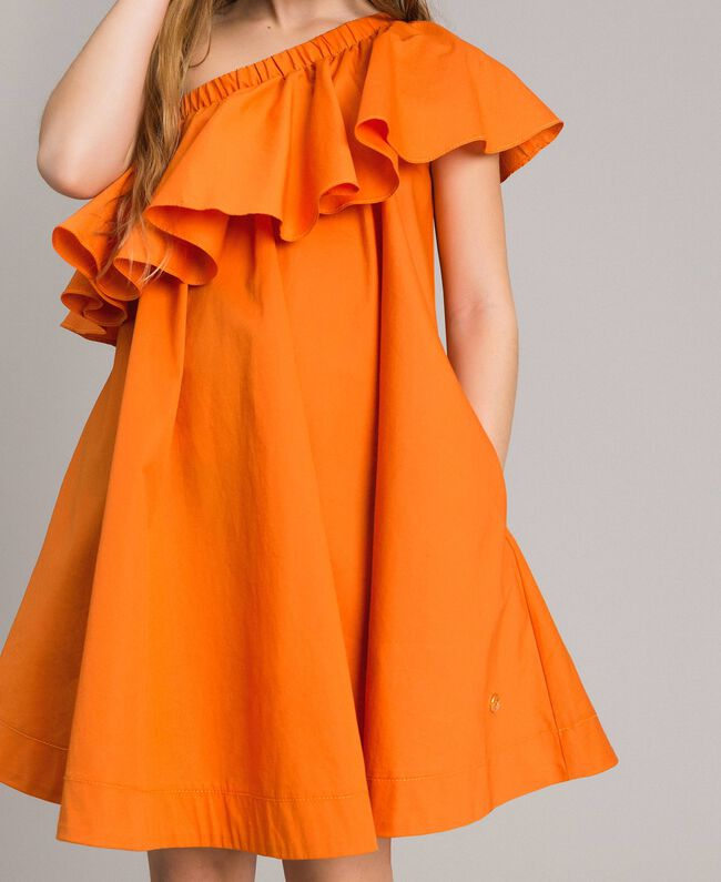 "Robe épaule dénudée en popeline stretch ""Orange Estivale"" Enfant 191GJ2290-04"