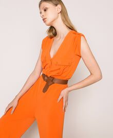 "Jumpsuit with pockets and belt ""Calendula"" Orange Woman 201MT2153-04"