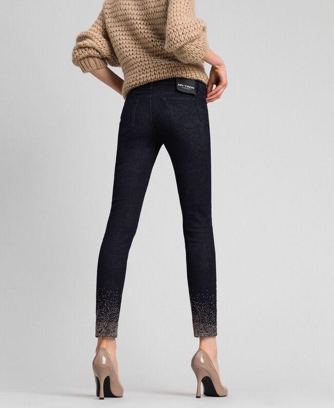 Jean skinny avec cristaux et clous Bleu Denim Femme 192MT2222-01