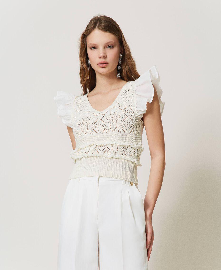 Top de punto crochet con flecos White Nieve Mujer 211TT3110-01