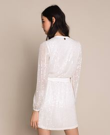 Full sequin and crystal bead dress Ivory Woman 201TP2051-03