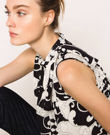 Printed georgette top with flounces White Liberty Print / Black Woman 201ST213F-05