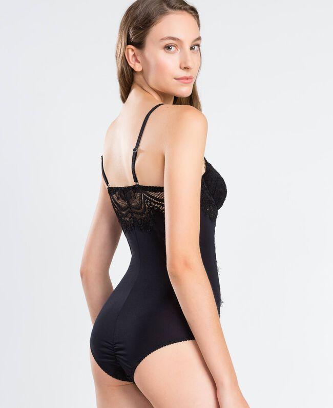 Body en tulle et dentelle festonnée Noir Femme IA8C00-03