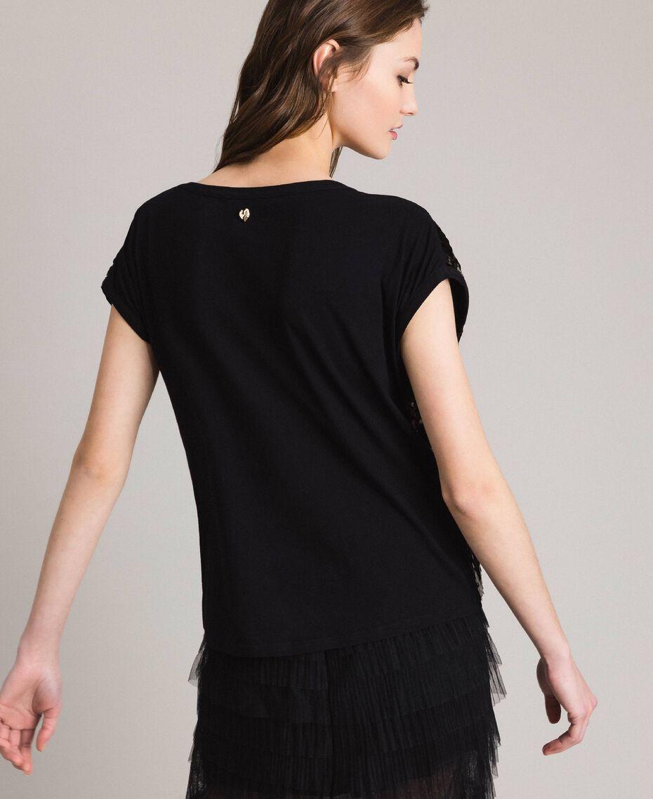 T-Shirt mit Pailletten Schwarz Frau 191MP206G-03