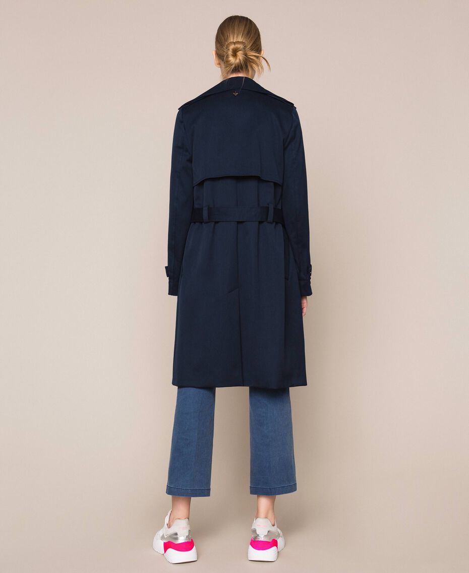 Water repellent double breasted trench coat Midnight Blue Woman 201TQ2012-03