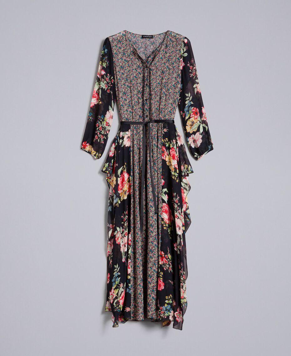 Robe longue en crêpe georgette avec imprimé floral Imprimé Fleur Patch Femme PA82MC-0S