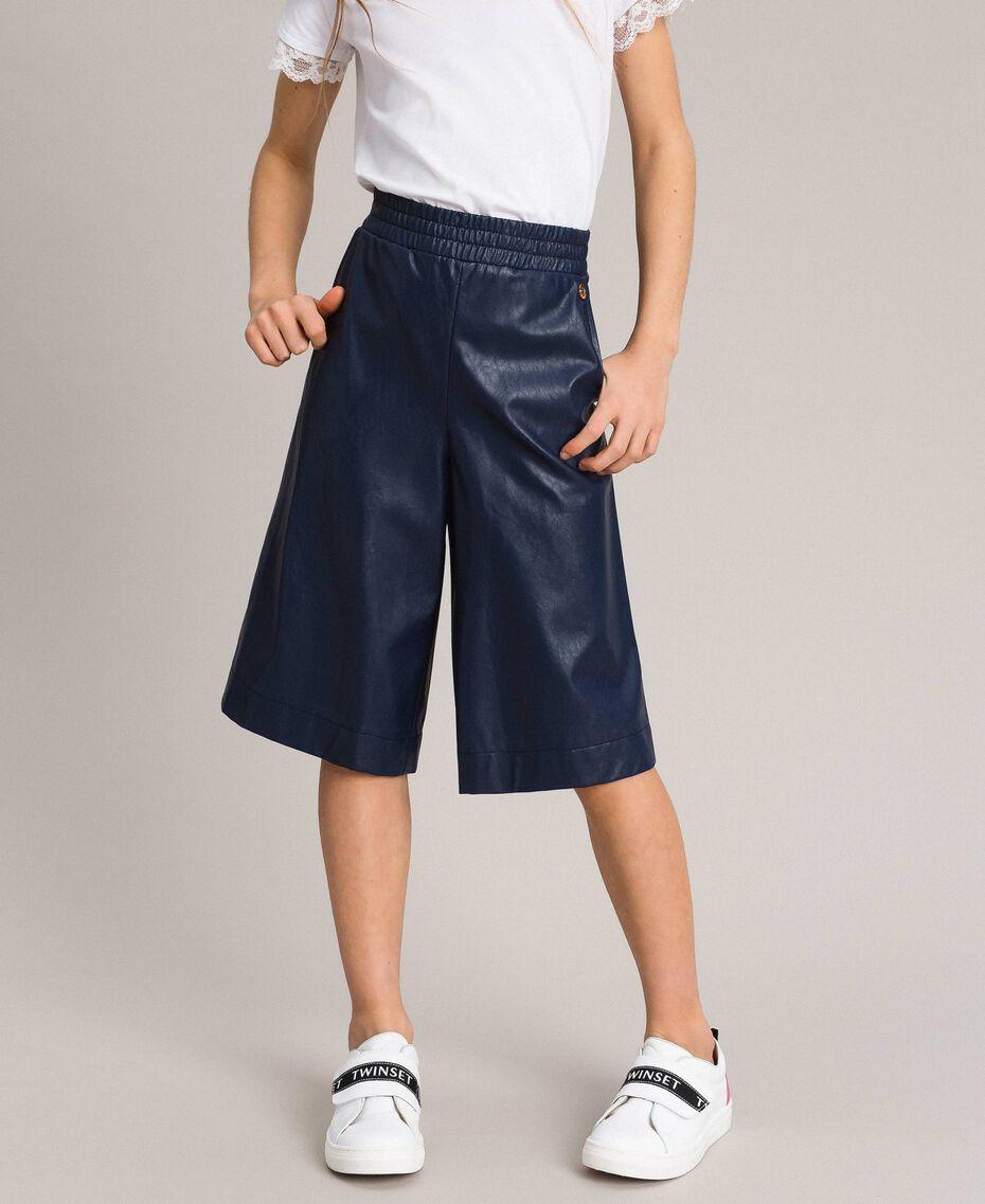 Pantalon cropped en similicuir Indigo Enfant 191GJ2100-0S