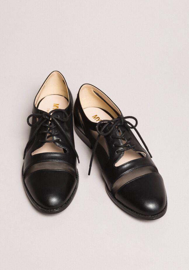 Chaussures à lacets en similicuir et filet