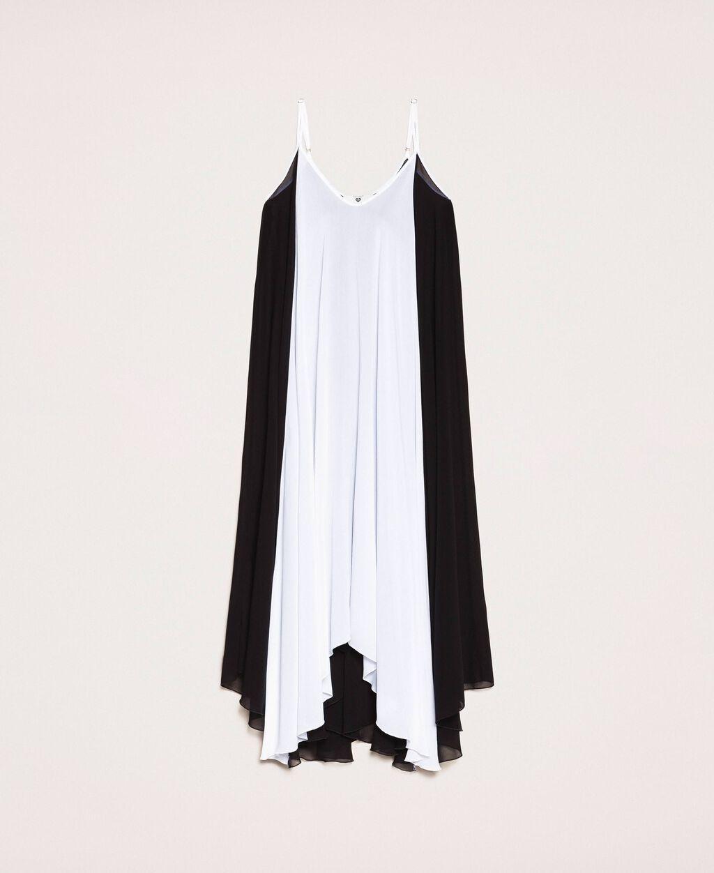 Long dress in colour block georgette