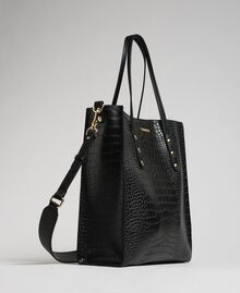 Crocodile print faux leather shopping bag Black Crocodile Print Woman 192TA7276-01