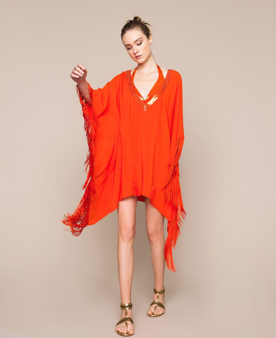"Kimono-style kaftan with fringes ""Ace"" Orange Woman 201LB2CLL-02"