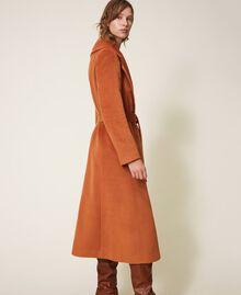 Abrigo largo de paño Rojo Terracota Mujer 202LI2CAA-02