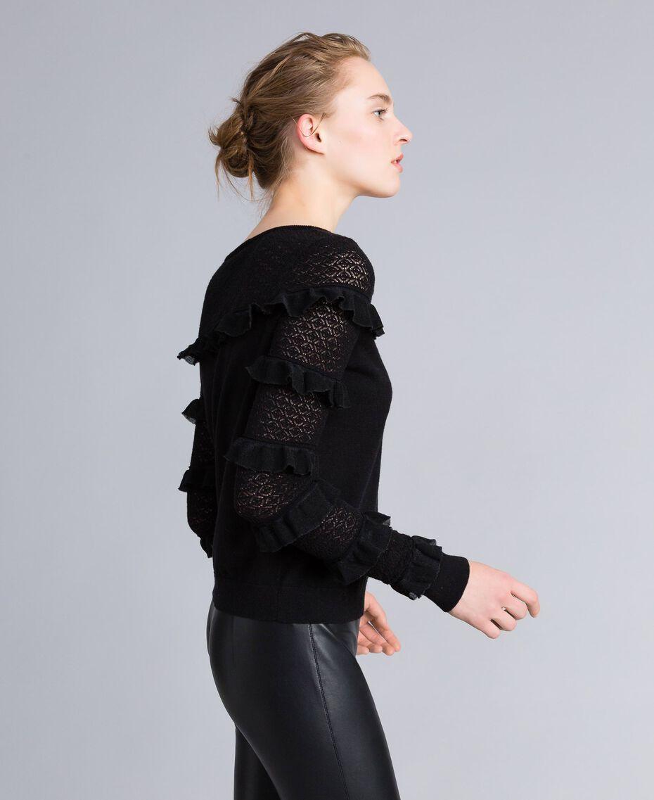 Pullover mit Passe und Ärmeln aus Spitze Schwarz Frau PA83CP-02