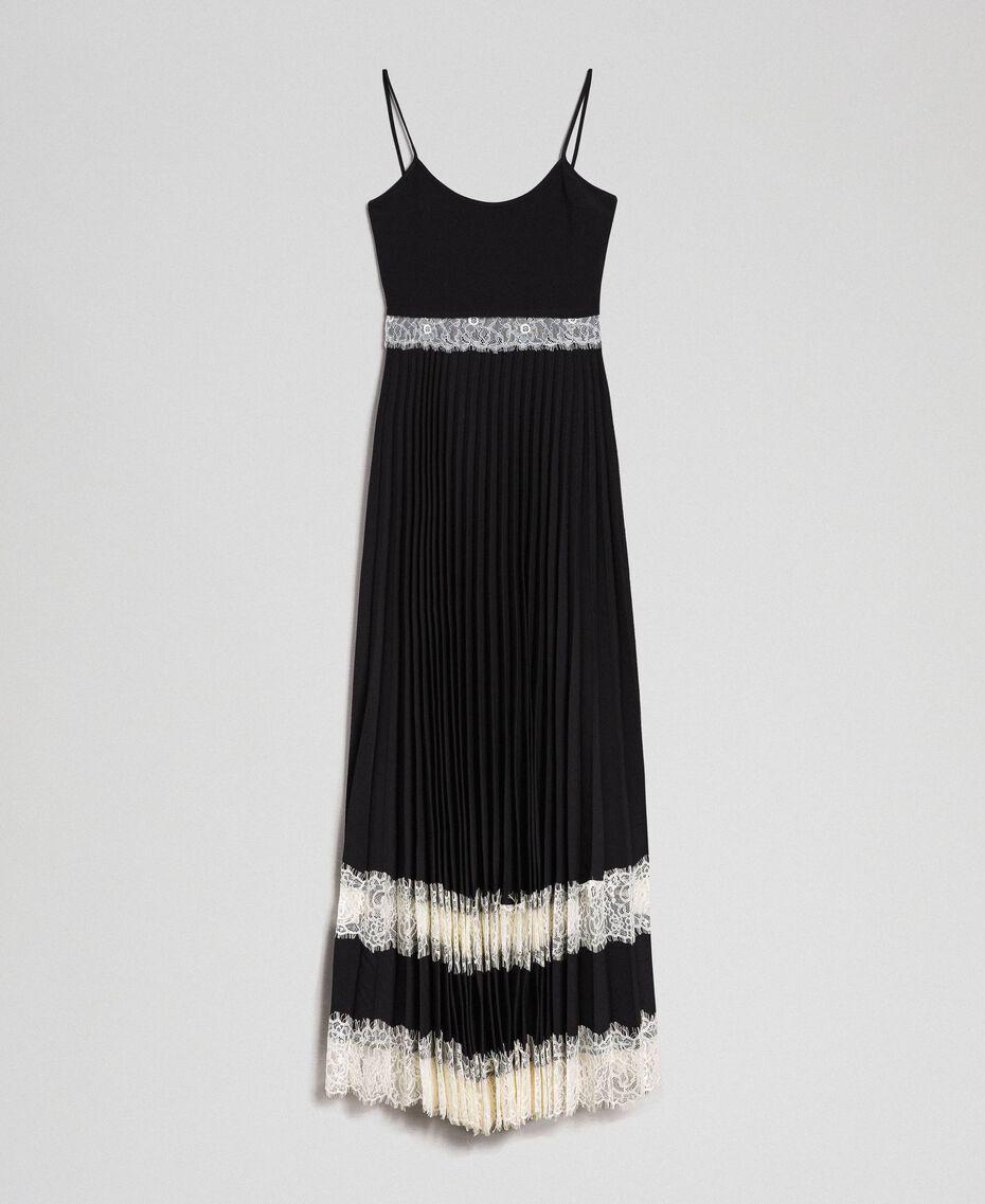 Robe nuisette avec dentelle Bicolore Noir / Blanc Neige Femme 192TP2282-0S