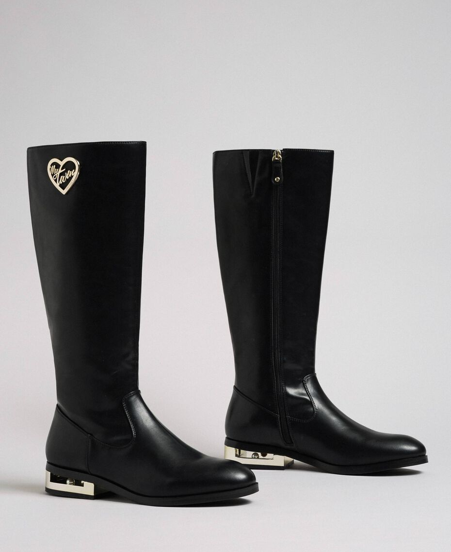Logo boots with decorative heel Black Woman 192MCP022-01