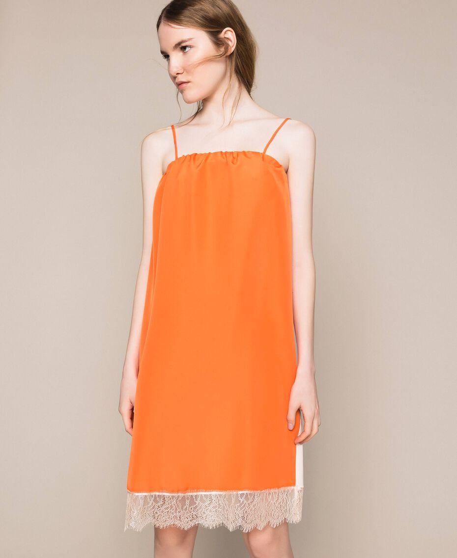 Robe nuisette avec dentelle Bicolore Orange «Calendula» / Blanc Cassé Femme 201MT2282-02
