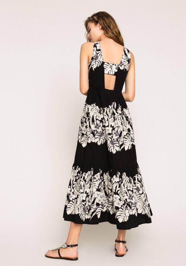 Floral poplin long dress