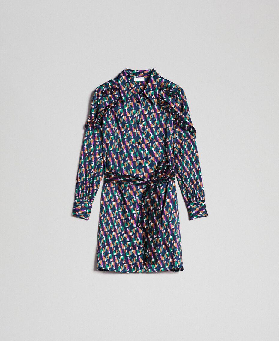 Printed shirt dress with belt Fox Geometric Print Woman 192ST2141-0S