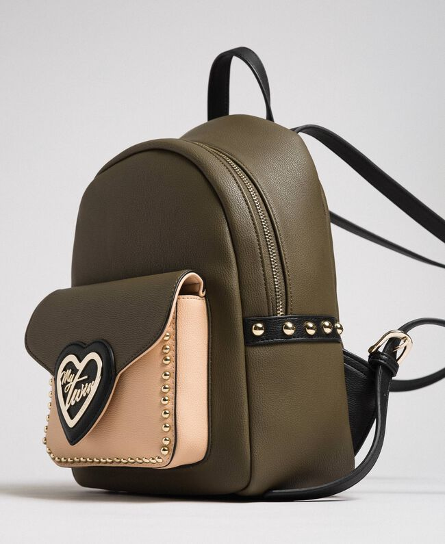 Two-tone faux leather backpack with studs Black Woman 192MA7104-03