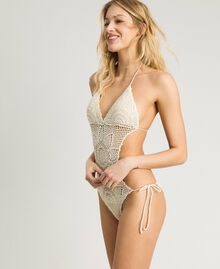 "Crochet trikini with little bows ""Milkway"" Beige Woman 191LMMNWW-02"