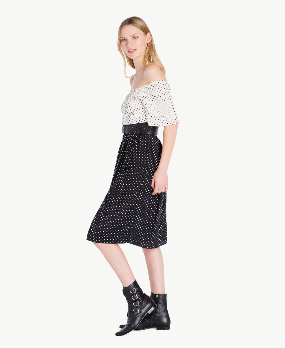 Polka dot dress Black Polka Dot Print / Ivory Polka Dot Print Woman PS82MN-02