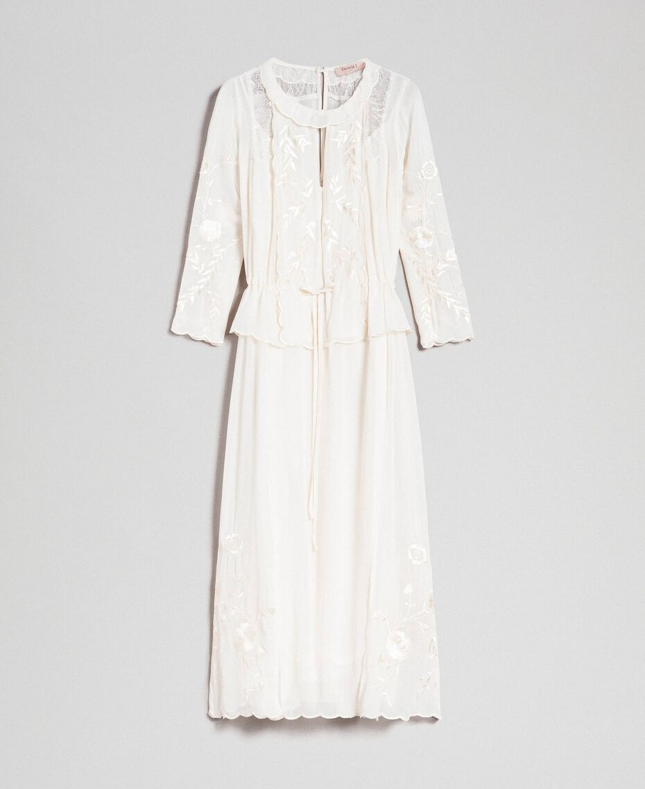 Georgette long dress with embroidery White Snow Woman 192TP2340-0S