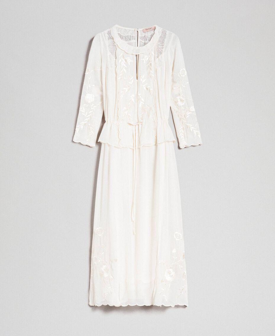 Robe longue en crêpe georgette avec broderies Blanc Neige Femme 192TP2340-0S
