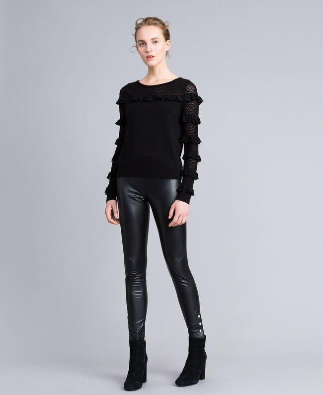 Pullover mit Passe und Ärmeln aus Spitze Schwarz Frau PA83CP-01