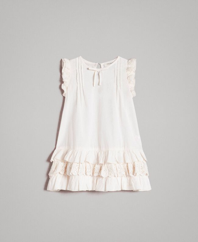 Cotton dress with broderie anglaise flounces Pale Cream Child 191GB2570-01