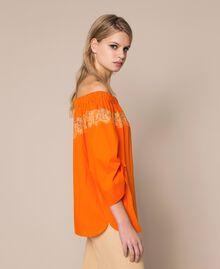 Blouse en popeline avec dentelle Orange «Calendula» Femme 201MT210C-02