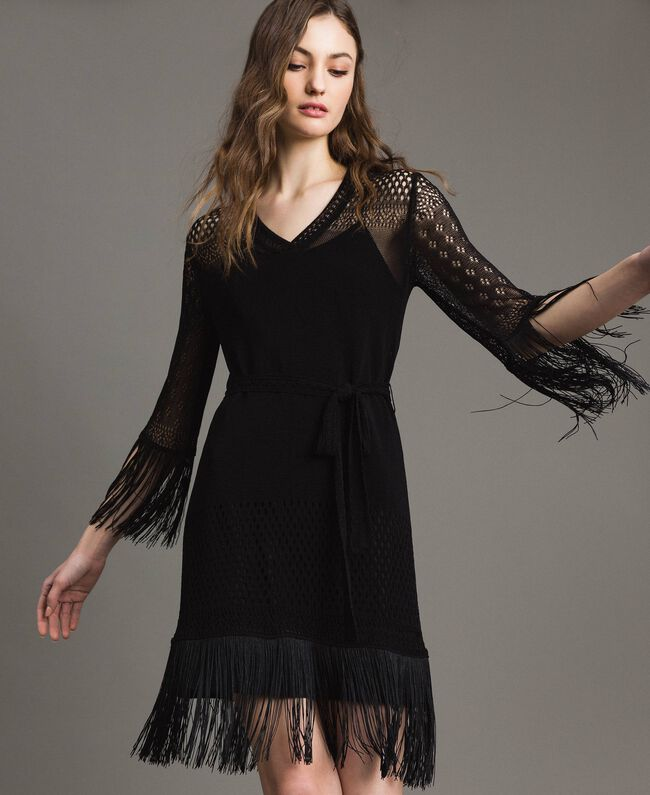 Robe en point filet avec franges Noir Femme 191TT3060-04