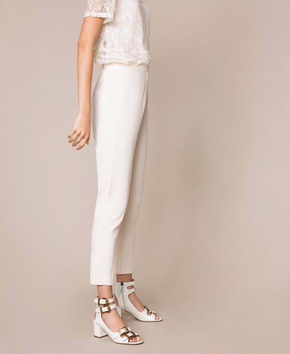 """Cigarette trousers with pockets """"Silk"""" White Woman 201ST2055-02"""