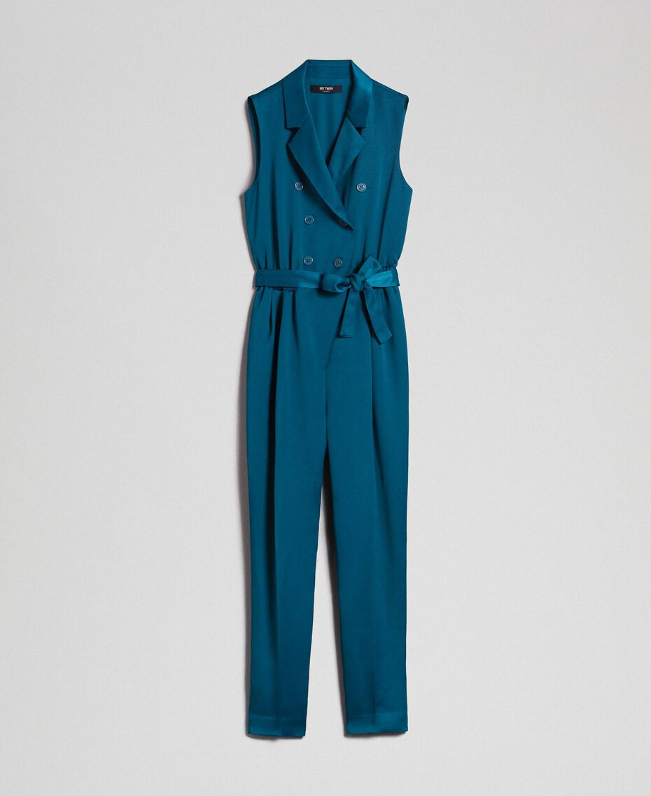 "Double breasted jumpsuit with belt at the waist ""Lake"" Blue Woman 192MP2350-0S"
