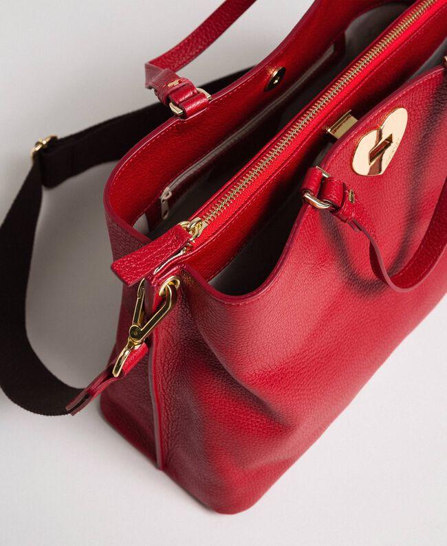 Borsa shopper piccola in pelle con tracolla Rosso Veneziano Donna 192TO8091-04