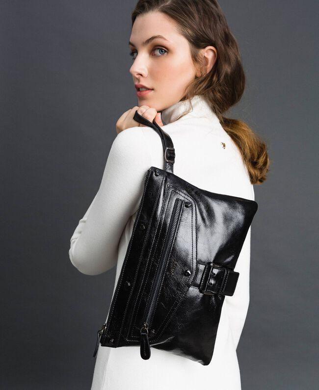 Pochette en cuir effet craquelé Noir Femme 192TA723B-0S