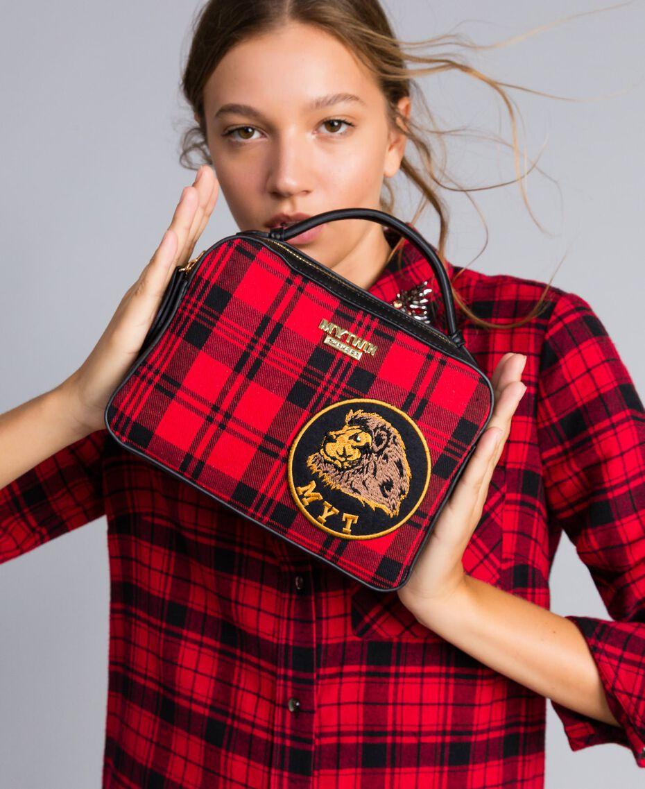 Sac à bandoulière en tartan et similicuir Imprimé Tartan Rouge Coquelicot Femme RA8TBP-0S