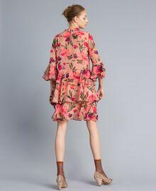 "Kleid aus Chiffon mit Blumenprint Print ""Rosa Tulpe"" Frau TA825R-03"