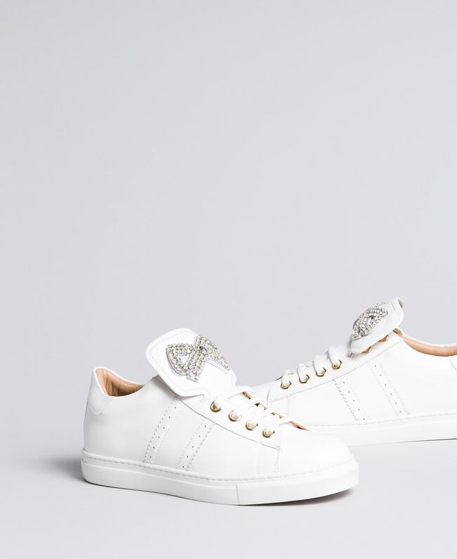 Two-tone leather sneakers with bow patch White Woman CA8PBG-01