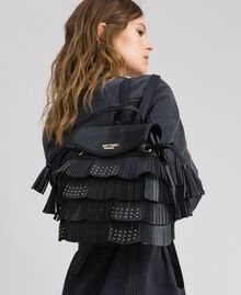 Faux leather backpack with fringes and studs Black Woman 192MA7022-0S