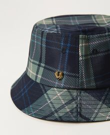 Check print hat Mid Blue Check Print Woman 202MA4371-02
