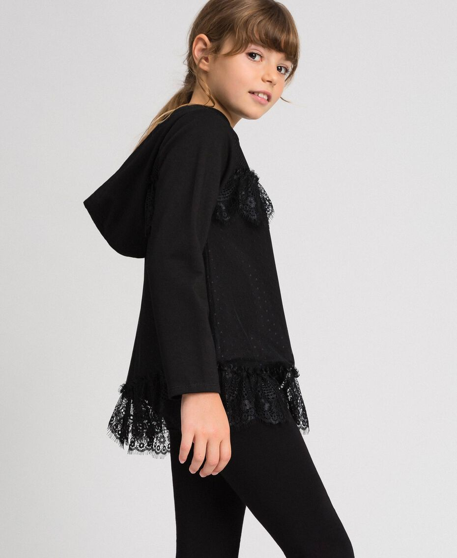 Sweat avec insertion en filet, tulle et dentelle Noir Enfant 192GJ2321-01