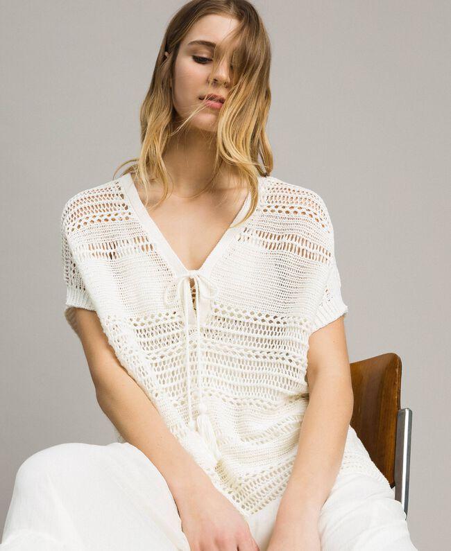 Oversized openwork knit poncho Ivory Woman 191LM3FJJ-01
