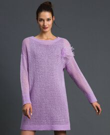 "Short wool and mohair dress with brooch ""Wisteria"" Pink / Purple Woman 192ST3090-02"