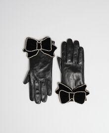 Guanti in pelle con fiocco in velluto e pietre Nero Donna 192TA4343-02