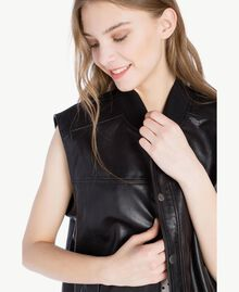 Leather jacket Black Woman PS82DA-04