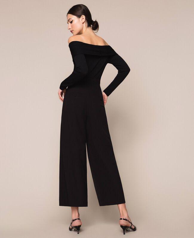Crêpe de Chine high waist trousers Black Woman 201MP2110-04