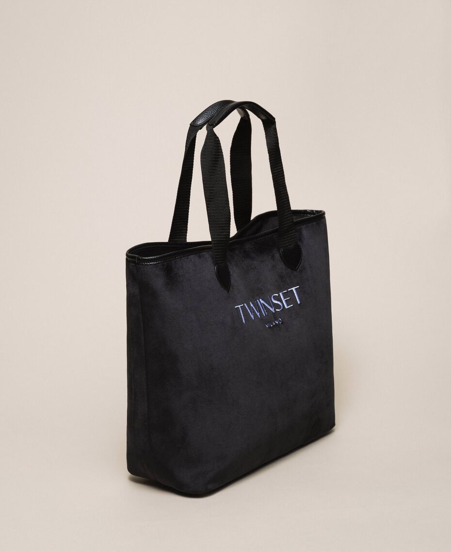 Velvet shopper with pochette Black Woman 999TA7010-03