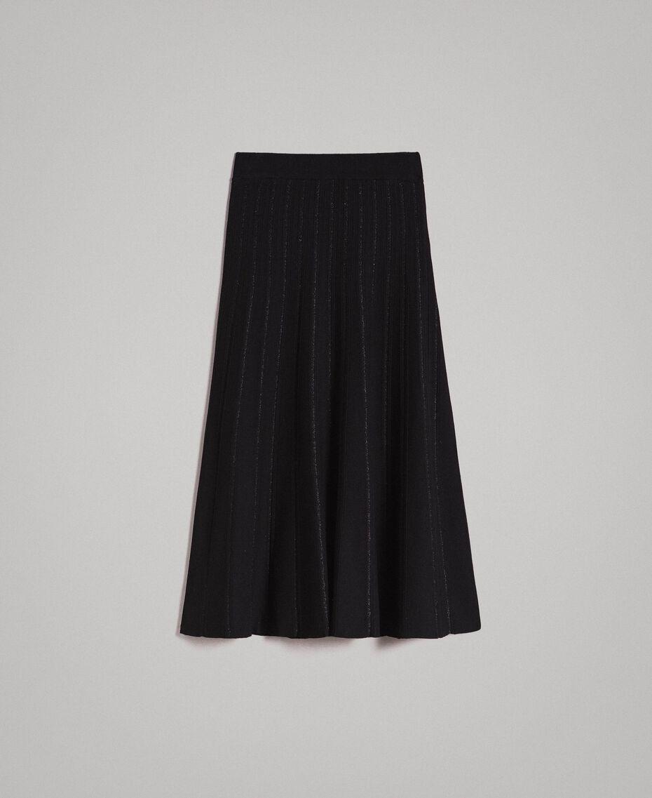Jupe mi-longue ornée de bandes en lurex Noir Femme 191TP3253-0S