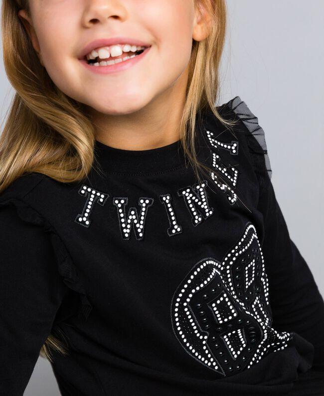 Jersey sweatshirt with pearls and tulle Black Child GA82U2-04