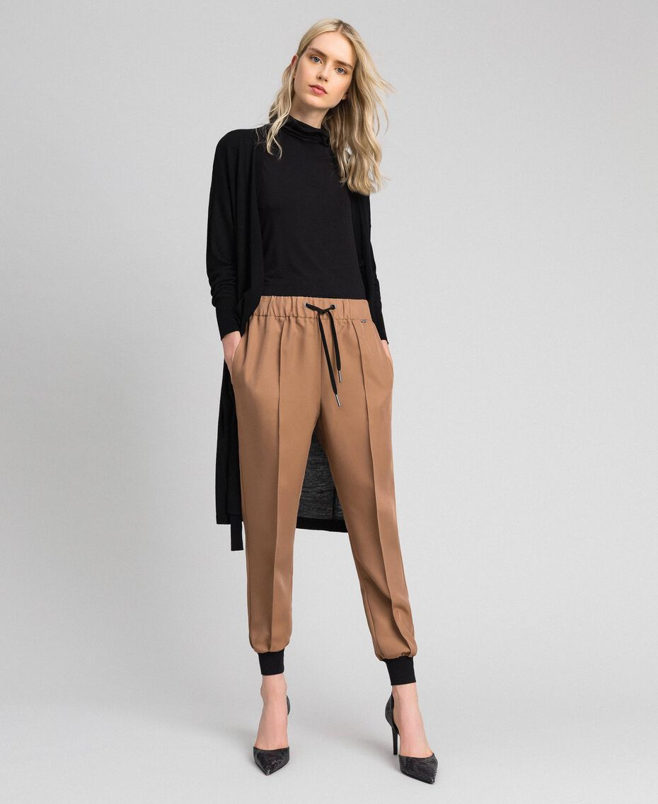 "Jogging trousers with elastic and drawstring ""Sequoia"" Beige Woman 192ST2203-01"